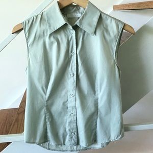 Prada Light Grey Blue Sleeveless Blouse SZ S